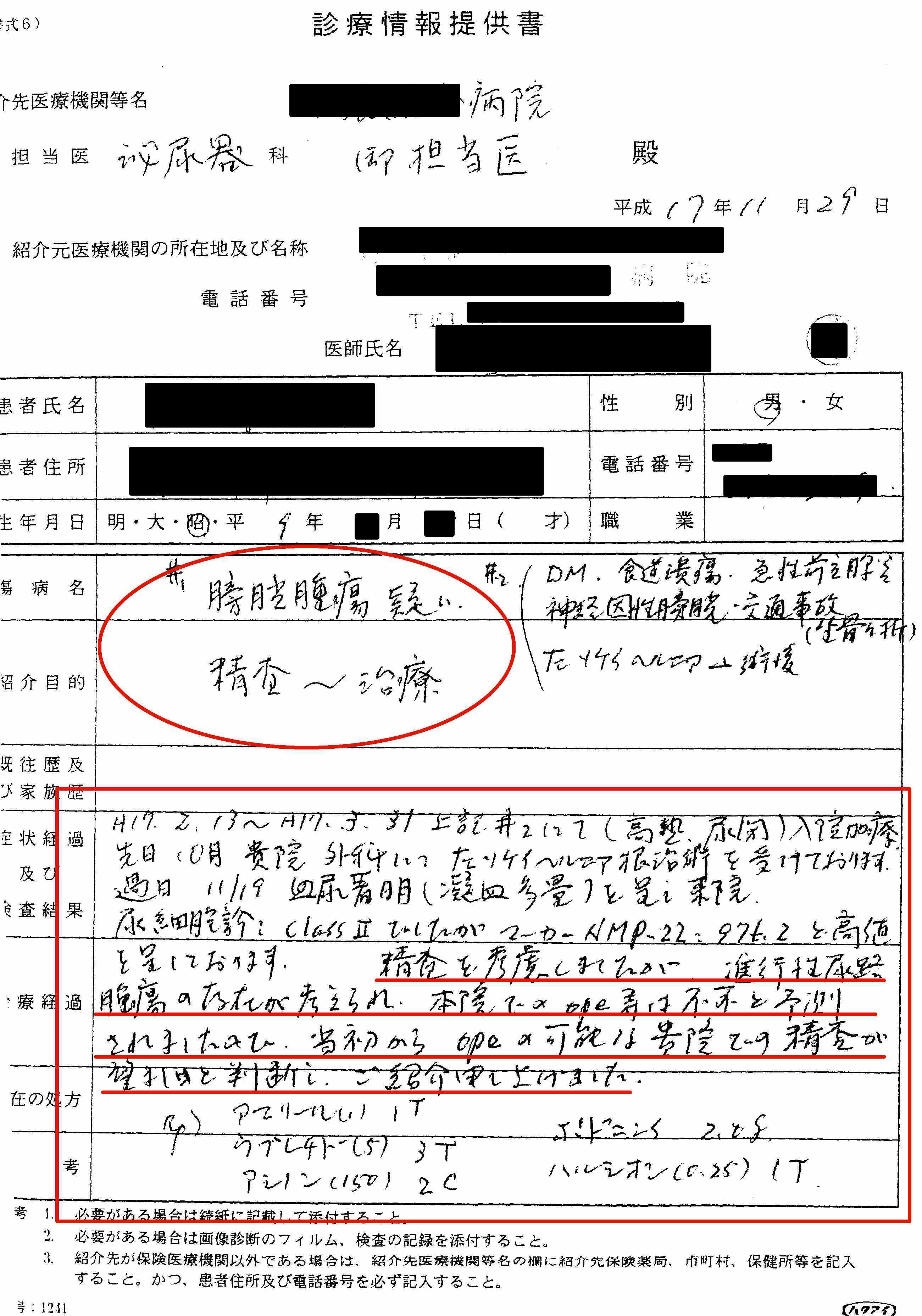 気功論文:膀胱癌(がん)疑い患者の診療情報提供書